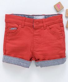 LC Waikiki Knee Length Solid Shorts With Front & Back Pocket - Red