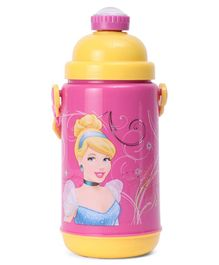 Disney Princess Push Button Insulated Sipper Water Bottle Pink and Yellow - 500 ml