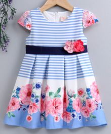 Smile Rabbit Cap Sleeves Striped Frock - Blue