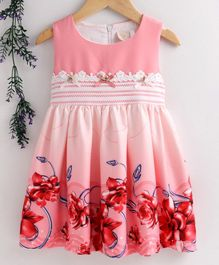 Smile Rabbit Sleeveless Floral Printed Frock - Pink
