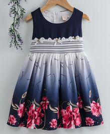 Smile Rabbit Sleeveless Floral Printed Frock - Navy Blue