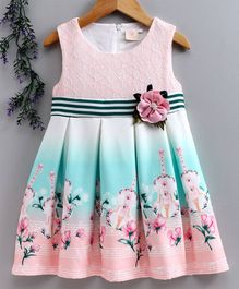 Smile Rabbit Sleeveless Floral Frock - Peach Mint