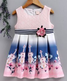 Smile Rabbit Sleeveless Floral Frock - Peach Dark Blue
