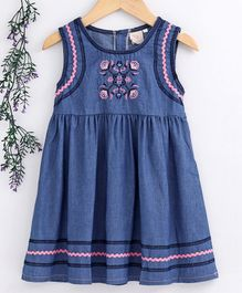 Smile Rabbit Sleeveless Frock Floral Embroidery - Dark Blue