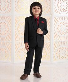 Babyhug 4 Piece Full Sleeves Party Suit With Tie & Pocket Square - Black