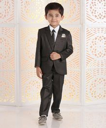 Babyhug 4 Piece FullSleeves Party Suit With Tie & Pocket Square - Dark Brown