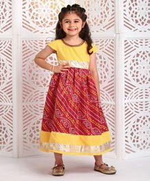 Babyhug Cap Sleeves Ethnic Dress Baandhani Print - Yellow Red