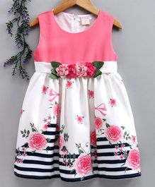 Smile Rabbit Sleeveless Floral Printed & Embellished Party Frock - Pink White