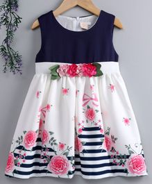 Smile Rabbit Sleeveless Floral Printed & Embellished Party Frock - Navy Blue White