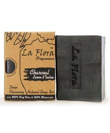 La Flora Organics Charcoal Tea tree Deep Cleansing Black Soap Bar - 100 gms