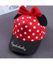Ziory Cute Dot Cartoon Big Bow Baby Baseball Cap 1 Piece - Red