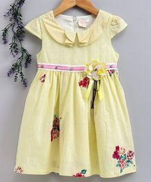 Smile Rabbit Cap Sleeves Floral Frock - Yellow