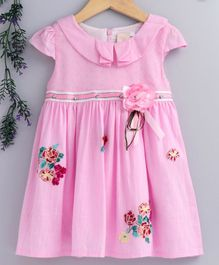 Smile Rabbit Cap Sleeves Floral Frock - Pink