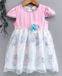 Smile Rabbit Cap Sleeves Floral Embroidered Frock - Pink Blue