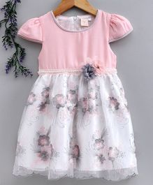 Smile Rabbit Cap Sleeves Floral Embroidered Frock - Pink Grey