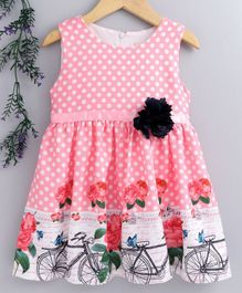 Smile Rabbit Sleeveless Polka Dotted Frock With Floral Belt - Pink