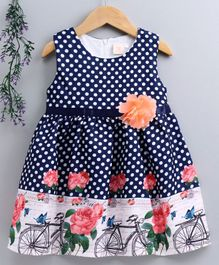Smile Rabbit Sleeveless Polka Dotted Frock With Floral Belt - Navy Blue