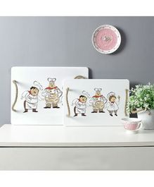 Quirky Monkey Serving Tray Set of 2 - White