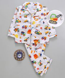 Knitting Doodles Construction Vehicle Printed Full Sleeves Night Suit - White