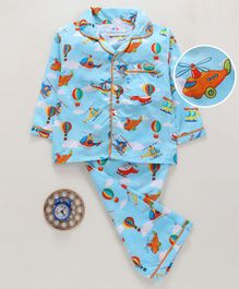 Knitting Doodles Helicopter & Balloon Print Full Sleeves Night Suit - Light Blue
