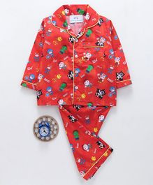 Knitting Doodles Superhero Printed Full Sleeves Night Suit - Red
