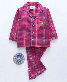 Knitting Doodles Checkered Full Sleeves Night Suit - Pink