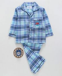 Knitting Doodles Checkered Full Sleeves Night Suit - Blue