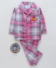 Knitting Doodles Checkered Octopus Embroidered Full Sleeves Night Suit - Pink