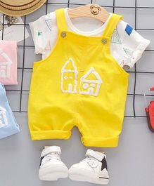 Pre Order - Awabox House Printed Half Sleeves T-Shirt & Dungaree Set - Yellow & White