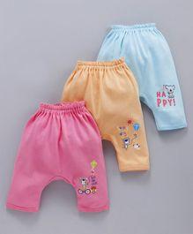 9846282fe92e6 Zero Full Length Diaper Leggings Animal Print Pack of 3 - Blue Orange Pink