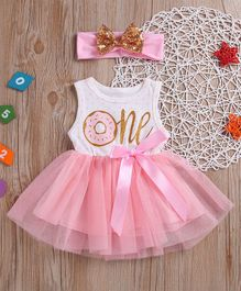 Pre Order - Awabox Polka Dot & Number Printed Sleeveless Dress With Sequin Bow Headband - White & Pink