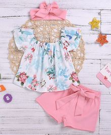 Pre Order - Awabox Floral Print Half Sleeves Off Shoulder Top With Shorts & Bow Knot Headband - Pink