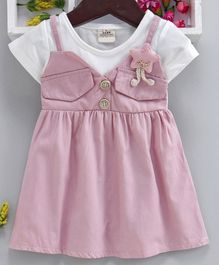 Kookie Kids Half Sleeves Mock Dungaree Style Frock - Pink White