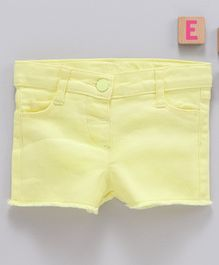 LC Waikiki Solid Reef Fringe Hem Shorts - Yellow
