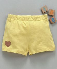 LC Waikiki Heart Patch Hem Shorts - Yellow