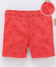 LC Waikiki Knee Length Air Plane Print Shorts - Red