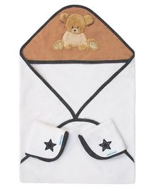 Abracadabra Hooded Towel & Face Cloth Set Teddy Patch - White Brown