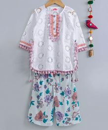 Little Bansi Schiffli Embroidered Full Sleeves Kurta & Floral Printed Palazzo Set  - White & Multicolor