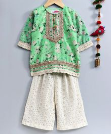 Little Bansi Floral Printed Three Fourth Sleeves Kurta & Schiffli Embroidered Palazzo Set - Green & Cream