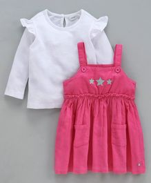 Babyoye Dungaree Style Frock With Tee Star Patch - White Pink