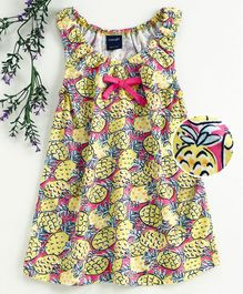 Mabaojd Sleeveless Frock Pineapple Print - Yellow