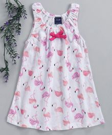 Mabaojd Sleeveless Frock Flamingo Print - White Pink