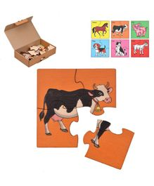 RK Cart Farm Animals Wooden Jigsaw Puzzle Set of 6 - Multicolour