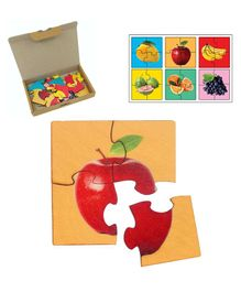 RK Cart Fruits Wooden Jigsaw Puzzle Set Of 6 - Red