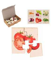RK Cart Vegetables Wooden Jigsaw  Puzzle Set Of 6 - Red