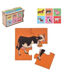 RK Cart Farm Animal Wooden Jigsaw Puzzle Set of 6 - Multicolour
