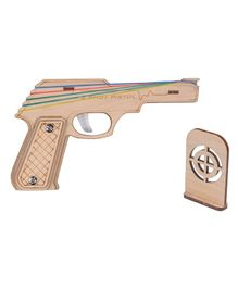 RK Cart Semi Automatic Wooden Rubber Band Shooting Gun Toys With Target - Brown