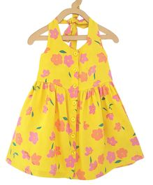 Campana Flower Print Halter Neck Sleeveless Dress - Yellow