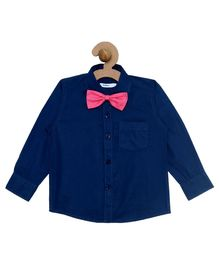 Campana Solid Full Sleeves Shirt with Bowtie - Navy Blue