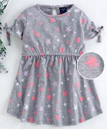 Mabaojd Half Sleeves Frock Star Print - Grey
